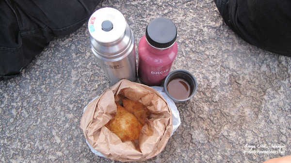 Also bring some light food such as hot curry puffs to eat after the long climb up.