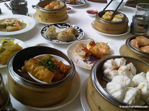 Dim sum spread for brunch.