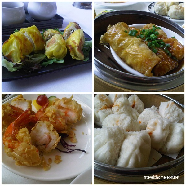 Pan-fried stuffed vegetable dumplings with dried shrimps and chives, Pan-fried beancurd rolls filled with shrimps and yellow chives, Deep-fried prawn wafer rolls with mango, Steamed fluffy barbecue chicken buns.