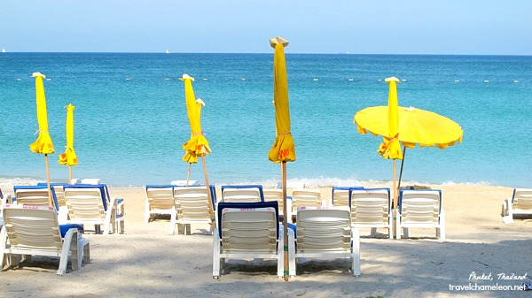 Beaching in Phuket under the yellow umbrella.