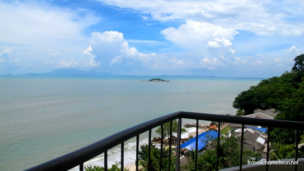 The view of the beautiful water from the balcony of Paradise Sandy Beach Resort.