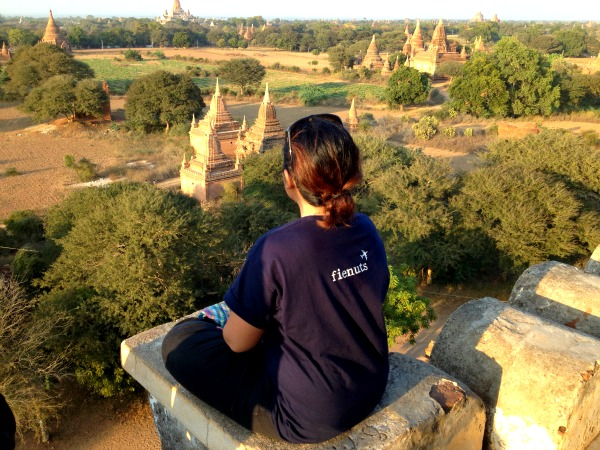 Watching the sunset on top of the highest temple in Bagan, Myanmar.