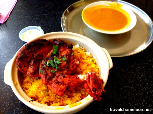 Chicken Briyani Claypot with dhal sauce.