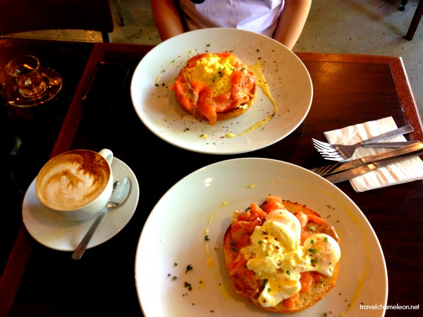Breakfast in Mukha means Egg Benedict with salmon and a hot cup of cappuccino.