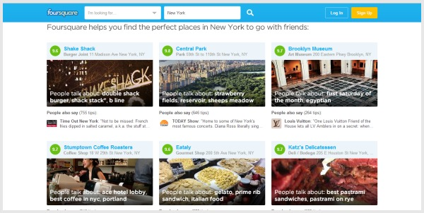Search for the nearest food, arts or even historical buildings with Foursquare.
