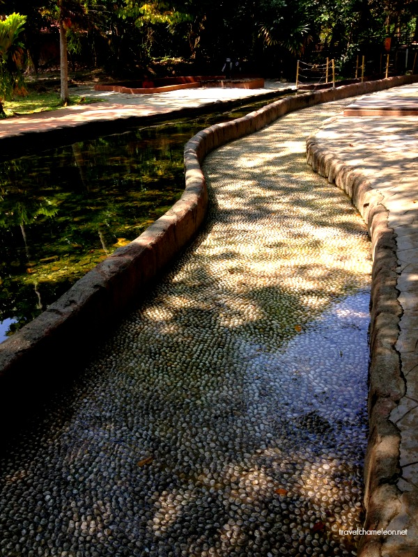 The therapy park with tiny stones in hot water is good for the nerve system in our body.