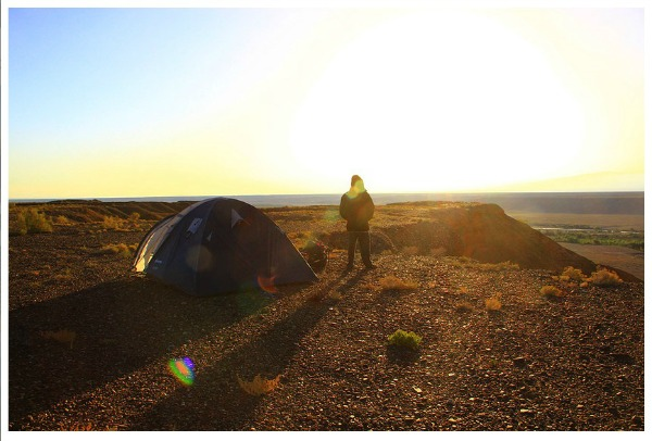 Setting up camp in Kazakhstan.