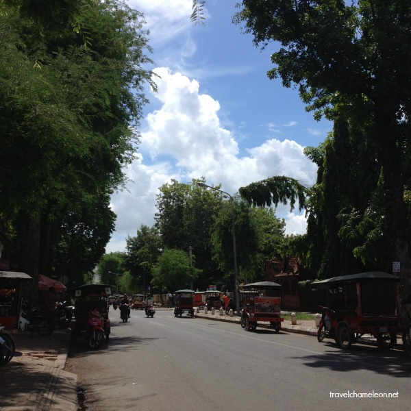 This is the cozy Arts Street, lined up with tuk tuks on a Sunday morning.