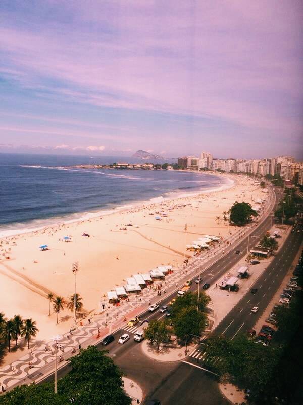 A view of Rio beach from the top of one of the tallest hotels in the city.