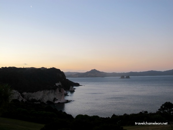 Cathedral Cove at sunset.