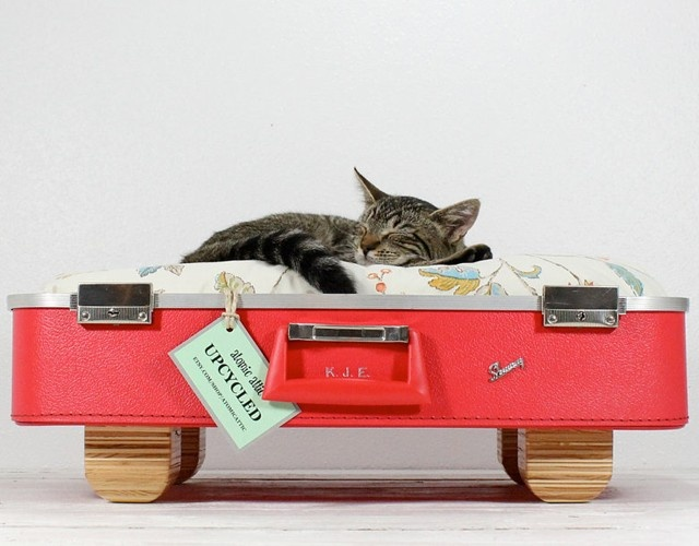 Found on Etsy.com - Upcycled Vintage Red Suitcase Pet Bed