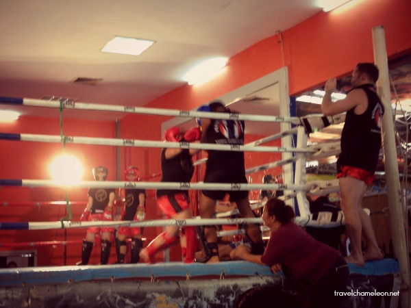 That's me fighting in the ring with head gear and gloves.