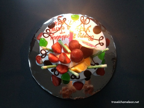 Birthday cake with yummy fruits!