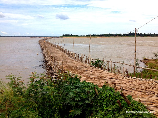 The Bamboo Bridge connects to Koh Paen across the Mekong River.