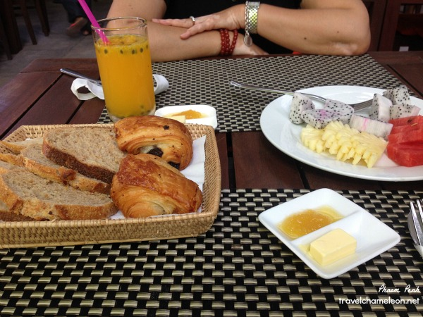 Western Breakfast at the Blue Lime with fresh French croissants from the nearby bakery and that fresh passion fruit juice!