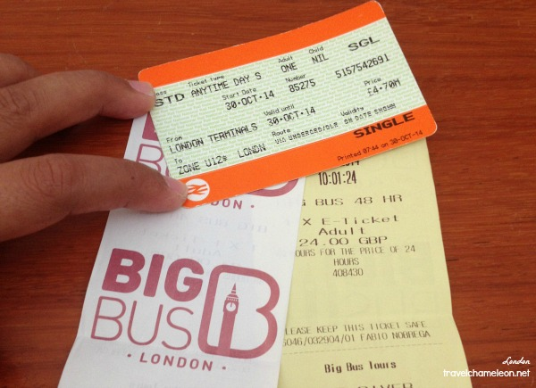 Tickets for single way on the underground Tube and receipt for Big Bus Tour.