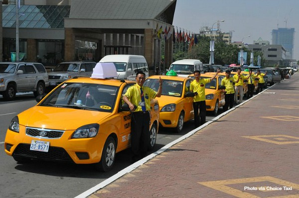 Yellow taxis are slowly emerging in Phnom Penh city.