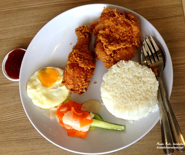 A chicken rice set in a Phnom Penh KFC restaurant.