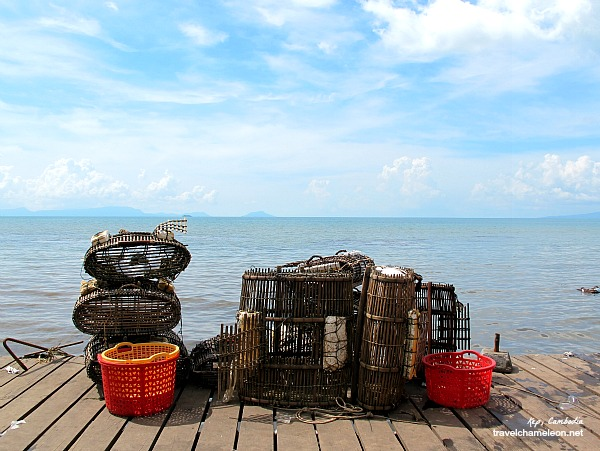 Equipment for crab fishing in the sea.