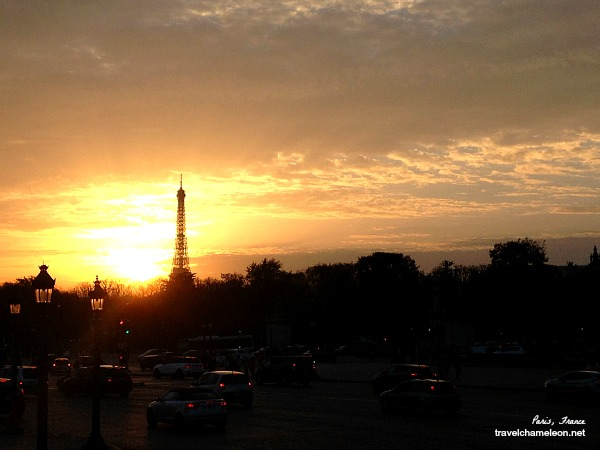 Watching the sun set behind the Eiffel Tower from Place Concorde.