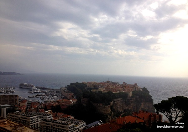 Monaco-Ville perched on the edge of the cliff with the Palace overlooking the sea.