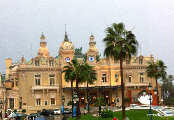 This was as close as we got to the Casino in our yellow raincoats, sheltering from the heavy rain.