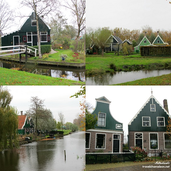 Green houses, restaurants, bed & breakfast, small canals in Zaanse Schans.