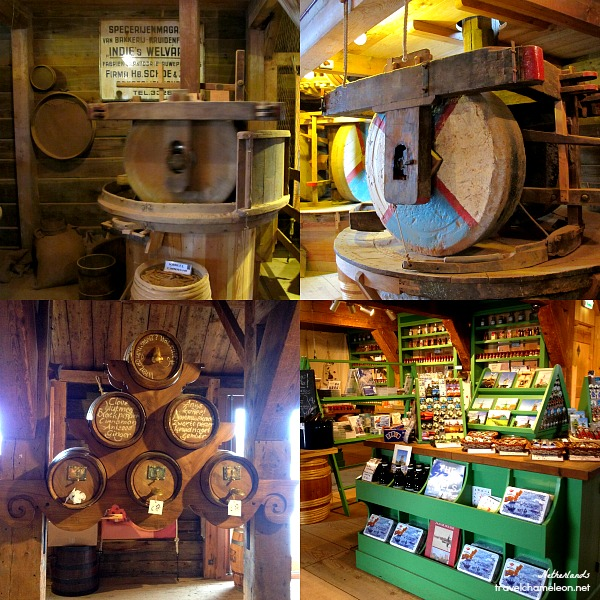 Inside the mill and souvenir shops selling everything windmill!