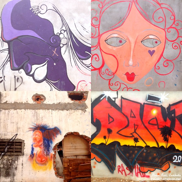 Graffiti and drawings on the walls by various artists.