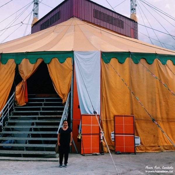 Me, in front of the circus tent which was in orange.