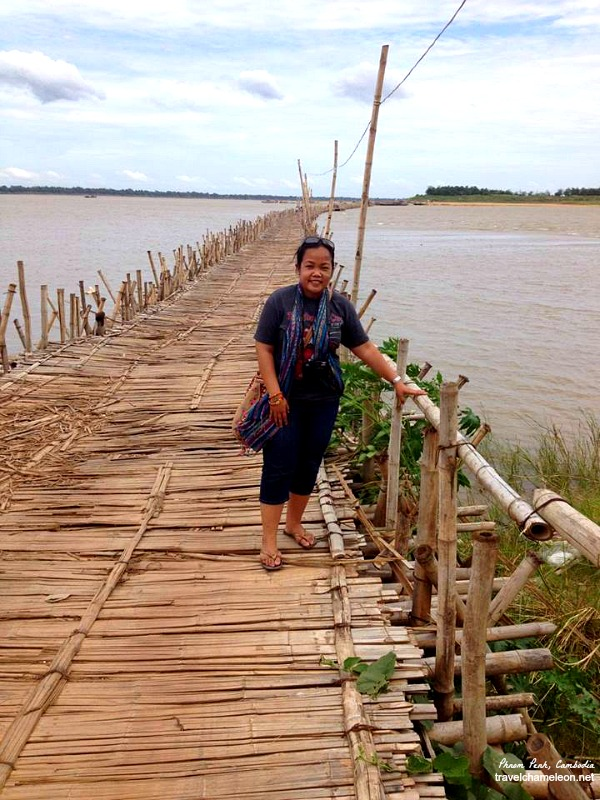 Wrapped the krama around me for a trip to the Bamboo Bridge in Kampong Cham.