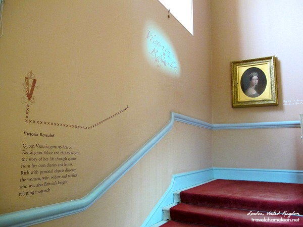 Staircase up to the Queen Victoria rooms.