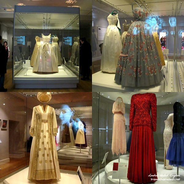 Fashion Rules Exhibition of stylish gowns of Queens and Princesses. The red one was worn by Diana, Princess of Wales.