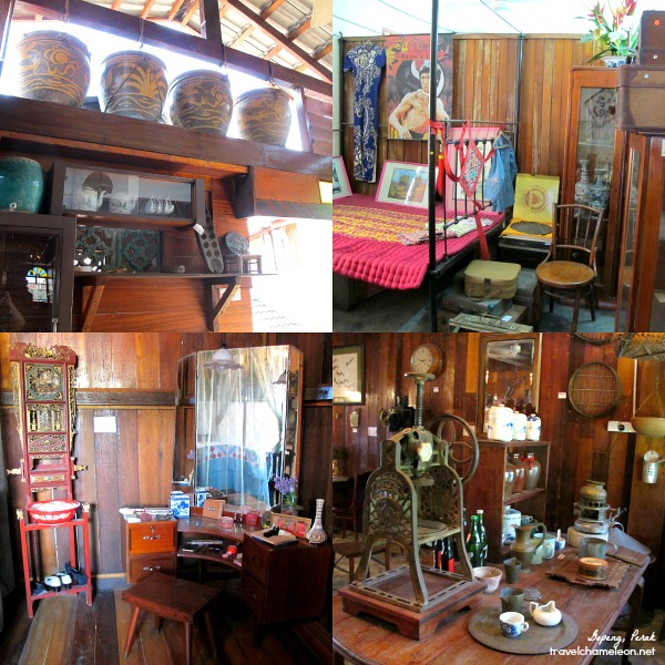 The rooms, antique furniture and kitchen items in the Heritage House.