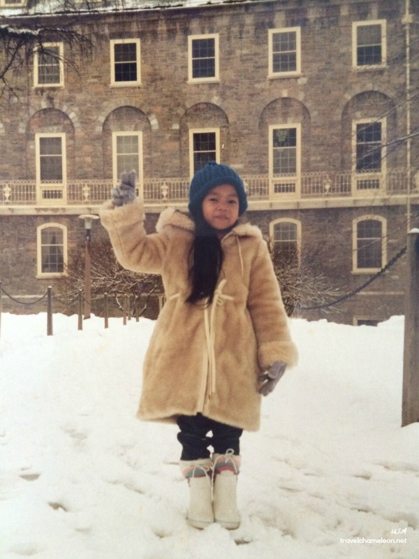 I remember this warm coat and those white boots! There was so much thick snow that day.