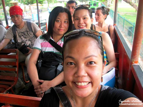 Taking the mini train around the Prambanan Complex since it's such a hot day.