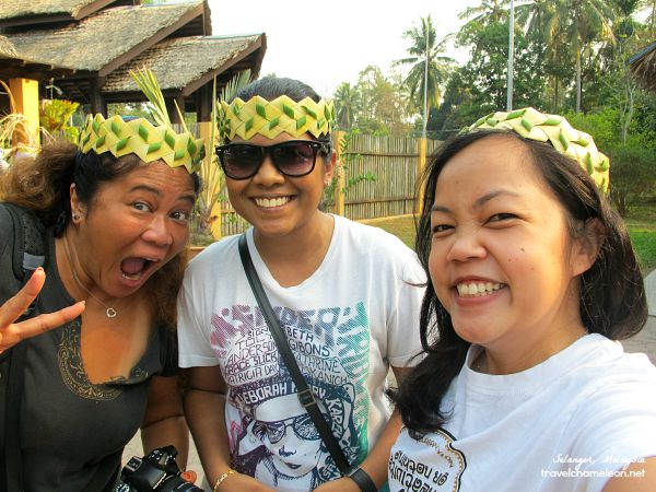 Wearing the tribal head gear for the Ari Muyang celebration.
