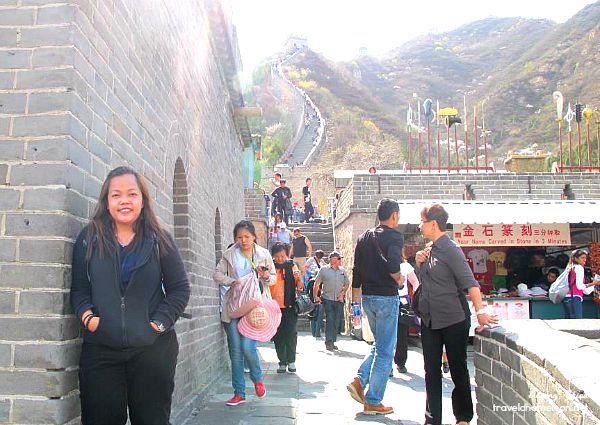 Stopping for a break with a view of the Great Wall behind me.