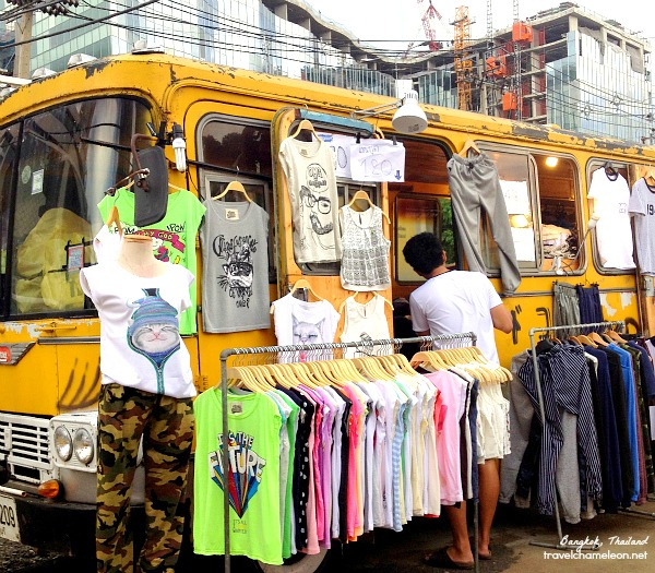 Find this yellow school bus for street style clothes.