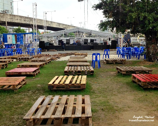 The main stage area set-up for the evening music performances at Artbox.