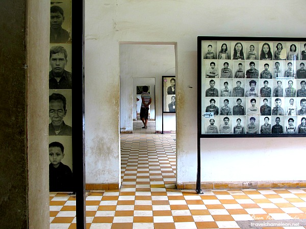 Portraits of prisoners lined up in the rooms.