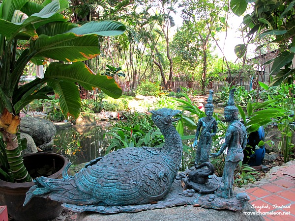 Statues of mythical creatures can be seen in the garden.